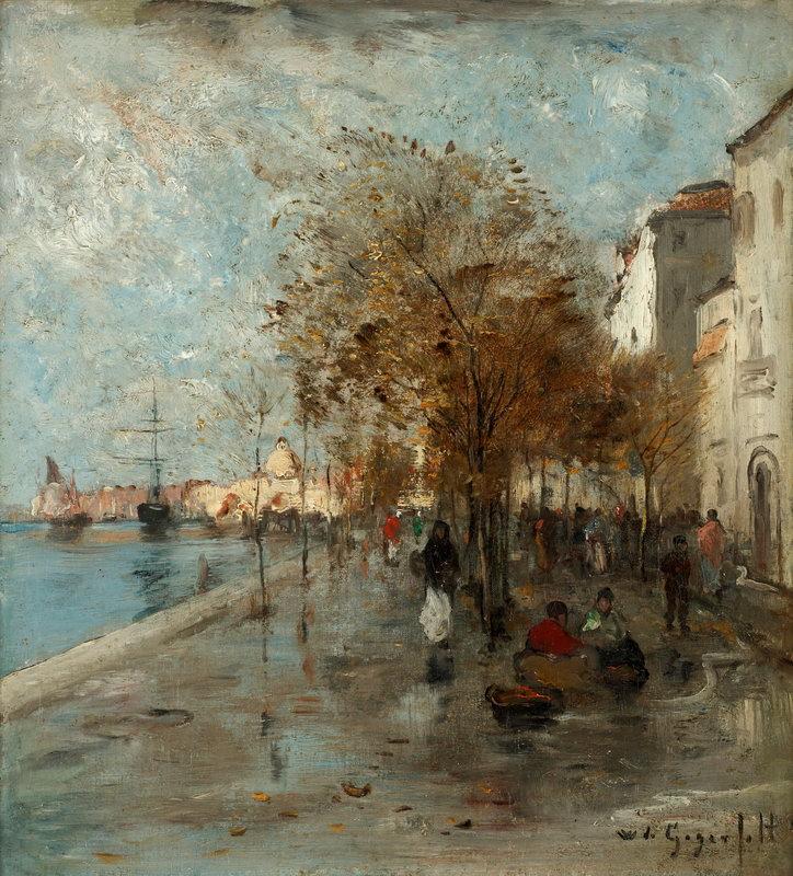 """Пейзажи """"Гегерфельд Вильгельм, Венецианская набережная"""", 20x22 см, на бумаге от Artwall"""