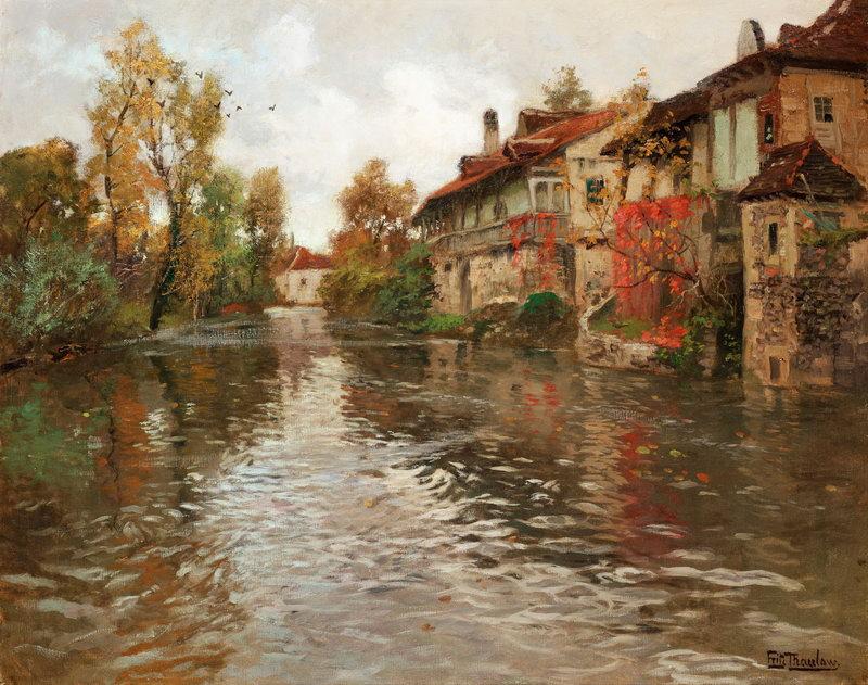 """Пейзажи """"Таулов Фриц, Вдоль канала"""", 25x20 см, на бумаге от Artwall"""