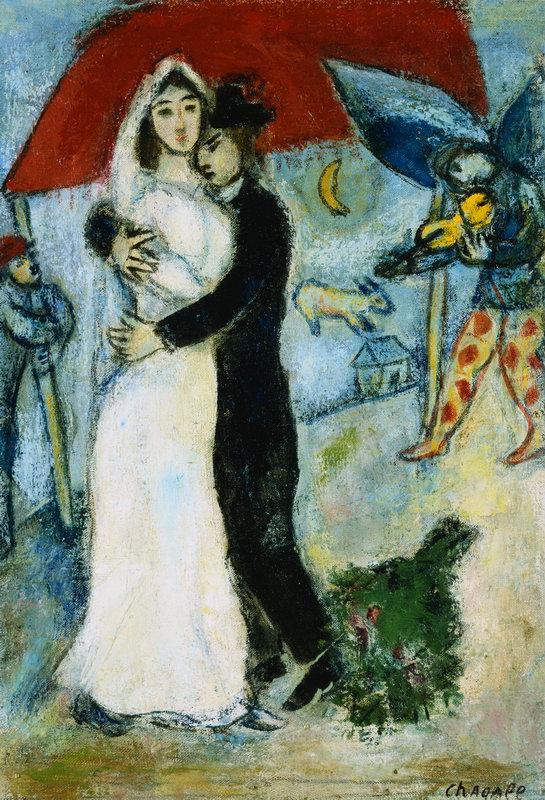 "Художники, картина ""Пара на красном фоне"", 20x29 см, на бумаге от Artwall"