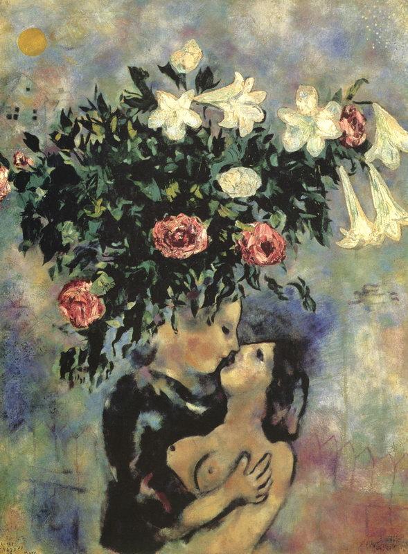 """Художники, картина """"Влюбленные и лилии"""", 20x27 см, на бумаге от Artwall"""