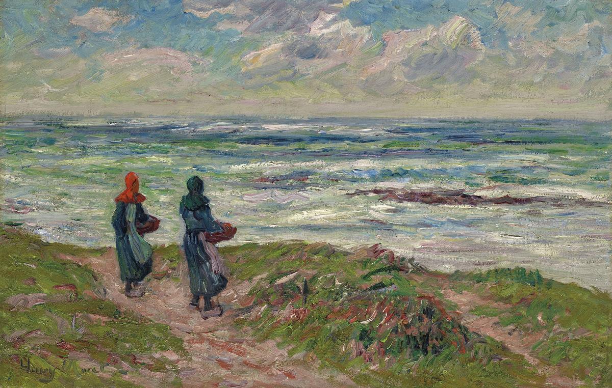 Купить репродукцию картину Море Анри «Бретонцы у моря»