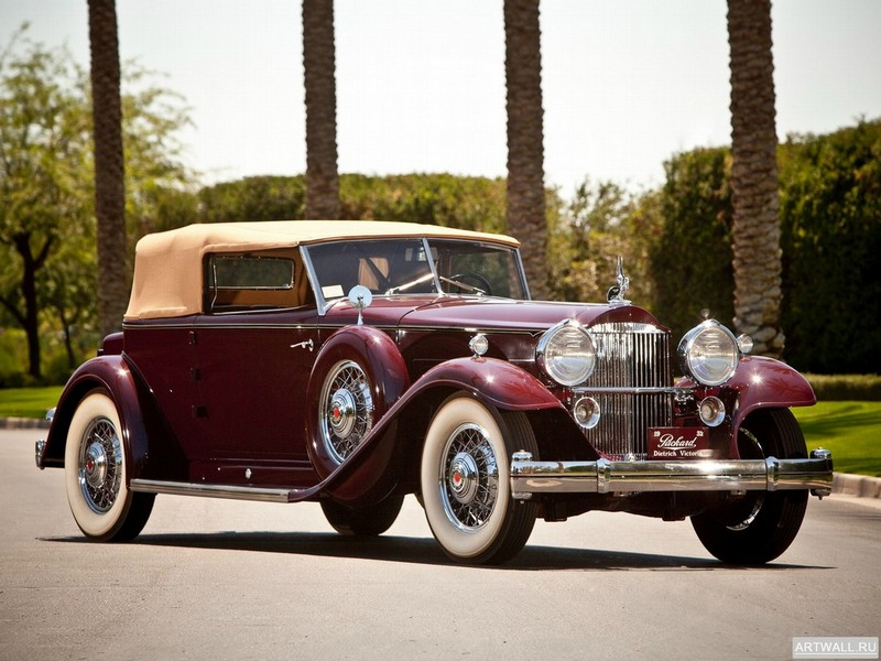 "Постер ""Packard 904 Individual Custom Convertible Victoria by Dietrich (2072) '1932"", 27x20 см, на бумаге от Artwall"
