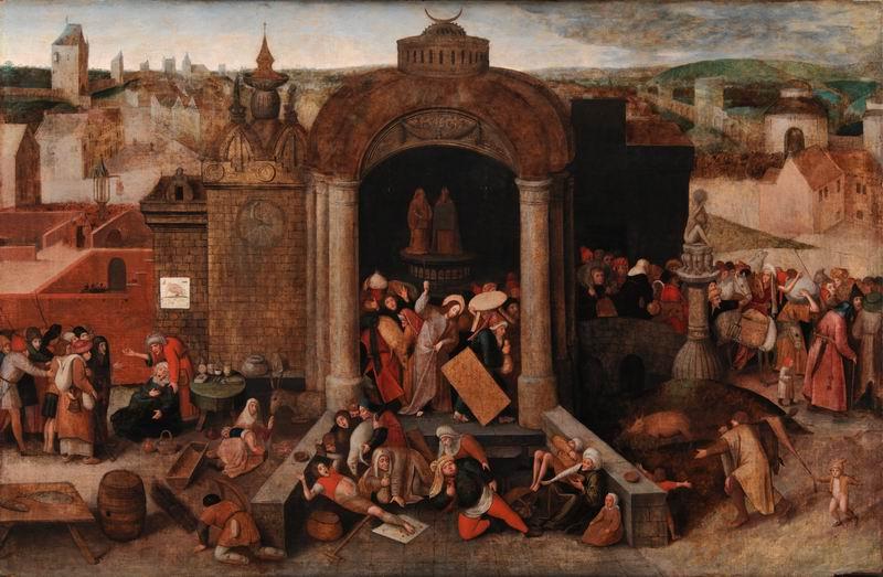 """Художники, картина """"Брейгель и Босх. Христос изгоняет торговцев из храма"""", 31x20 см, на бумаге от Artwall"""