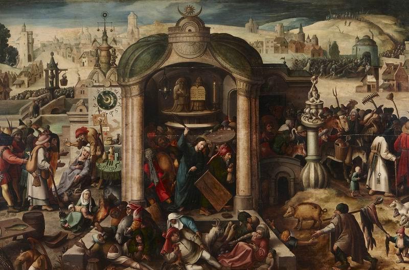 """Художники, картина """"Брейгель и Босх. Христос изгоняет торговцев из храма"""", 30x20 см, на бумаге от Artwall"""