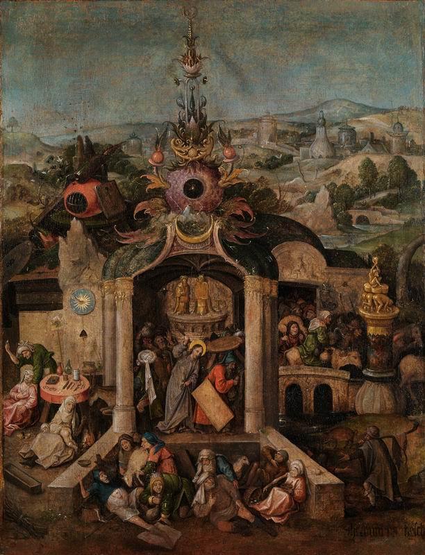 """Художники, картина """"Брейгель и Босх. Христос изгоняет торговцев из храма"""", 20x26 см, на бумаге от Artwall"""