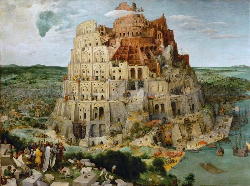 """Художники, картина """"Вавилонская башня (2-ой вариант)"""", 27x20 см, на бумаге от Artwall"""