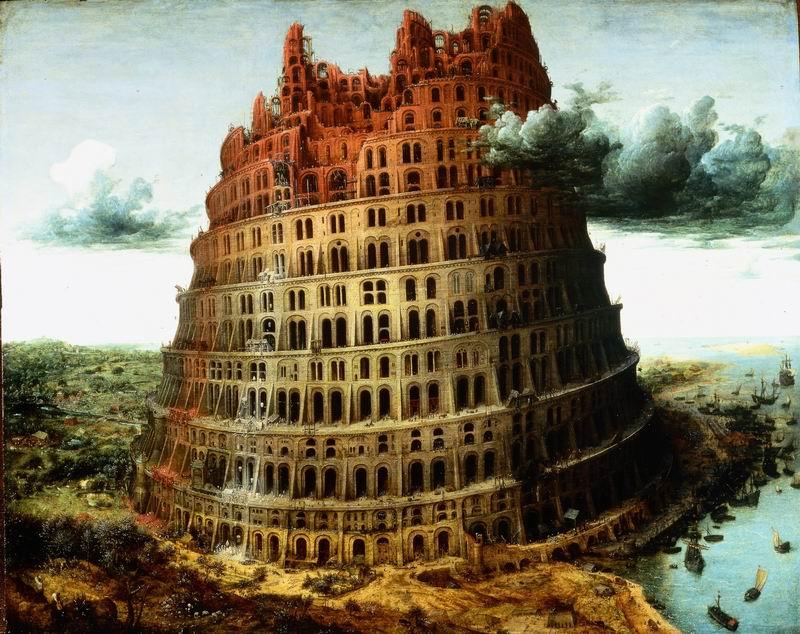 """Художники, картина """"Вавилонская башня"""", 25x20 см, на бумаге от Artwall"""