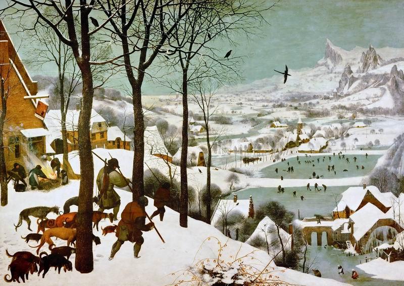 """Художники, картина """"Охотники на снегу"""", 28x20 см, на бумаге от Artwall"""