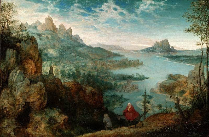 """Художники, картина """"Пейзаж с бегством в Египет"""", 30x20 см, на бумаге от Artwall"""