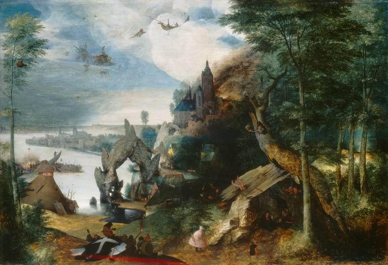"""Художники, картина """"Пейзаж с искушением св. Антония."""", 29x20 см, на бумаге от Artwall"""