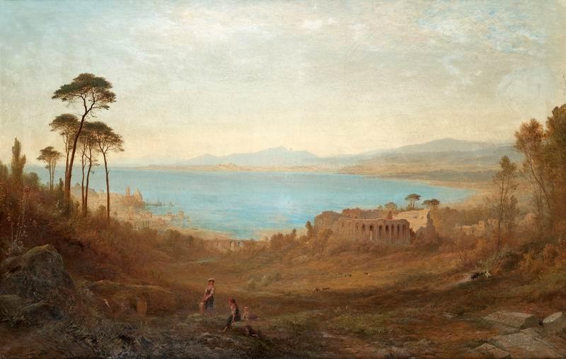"""Пейзажи """"Альфред Вальтер Уильямс """"Итальянский пейзаж с руинами"""""""", 31x20 см, на бумаге от Artwall"""