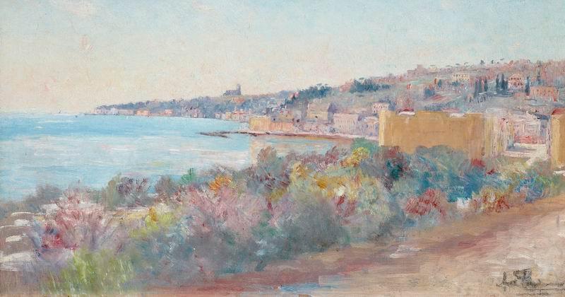 """Пейзажи """"Карл Линдман """"Вид на Ниццу, Франция"""""""", 38x20 см, на бумаге от Artwall"""