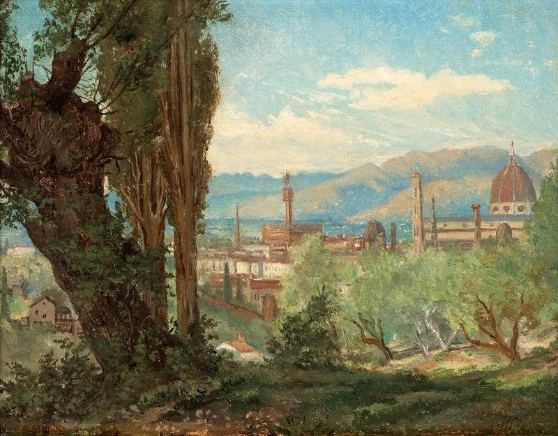"""Пейзажи """"Стек Джозеф Магнус """"Вид на Флоренцию"""""""", 26x20 см, на бумаге от Artwall"""