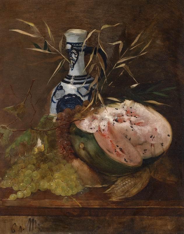 """Искусство, картина """"Мероде Карл фон, Фруктовый натюрморт с дыней"""", 20x25 см, на бумаге от Artwall"""