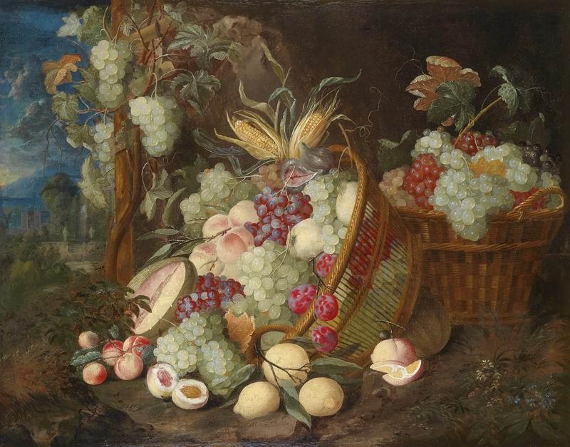 """Искусство, картина """"Мертенс Томас, Натюрморт из винограда, лимонов, персиков, инжира и дыни"""", 26x20 см, на бумаге от Artwall"""