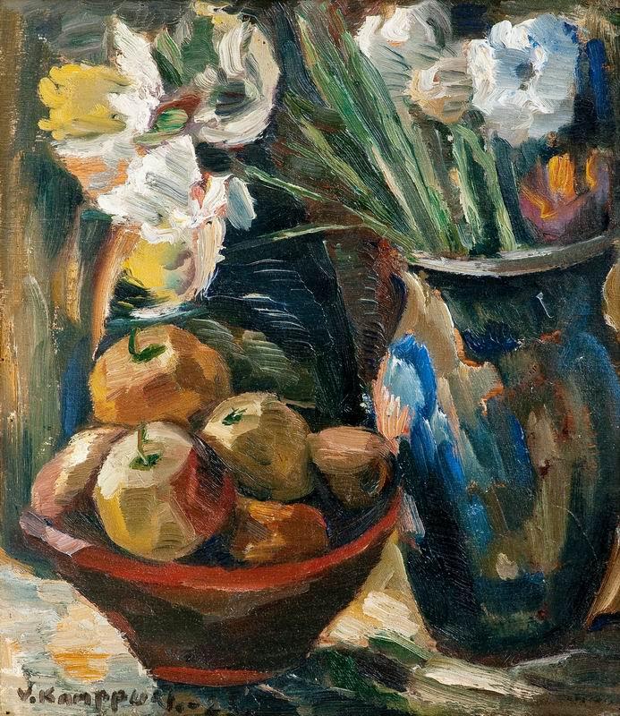"""Искусство, картина """"Кампури Вално, Натюрморт"""", 20x23 см, на бумаге от Artwall"""
