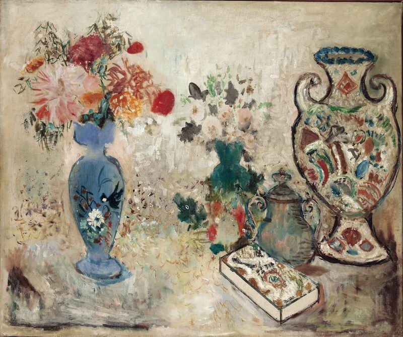 """Искусство, картина """"Пейфер-Ватенфул Макс, Натюрморт с вазами и коробкой шоколадных конфет"""", 24x20 см, на бумаге от Artwall"""