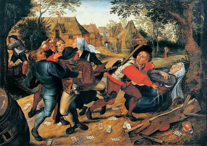 "Художники, картина ""Драка картёжников"", 28x20 см, на бумаге от Artwall"