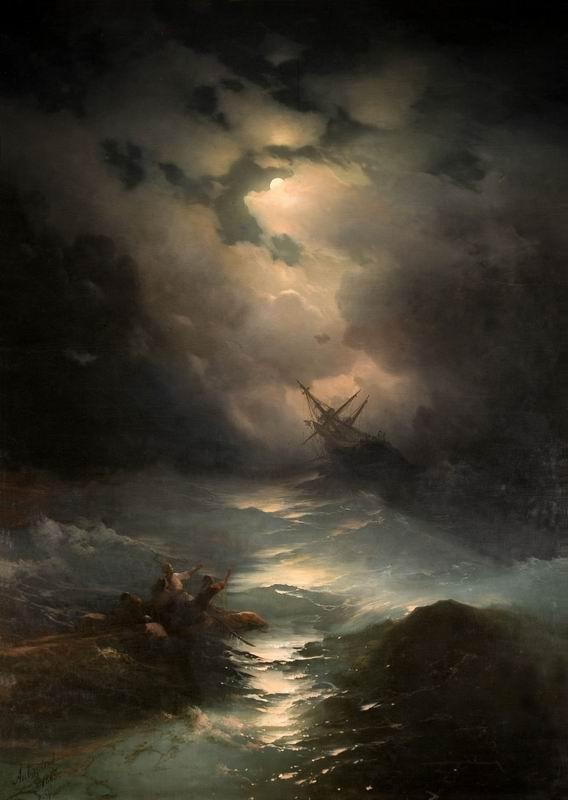 """Художники, картина """"Буря на северном море"""", 20x28 см, на бумаге от Artwall"""