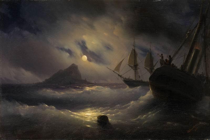 """Художники, картина """"Буря ночью"""", 30x20 см, на бумаге от Artwall"""