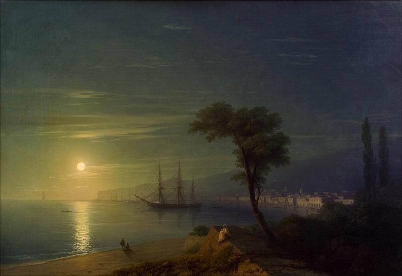 "Художники, картина ""Бухта в лунную ночь"", 29x20 см, на бумаге от Artwall"
