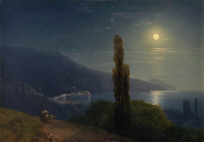 """Художники, картина """"Бухта при лунном свете"""", 29x20 см, на бумаге от Artwall"""