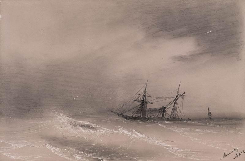 """Художники, картина """"В море"""", 30x20 см, на бумаге от Artwall"""