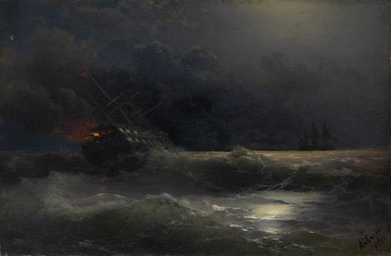 """Художники, картина """"Горящий корабль"""", 31x20 см, на бумаге от Artwall"""