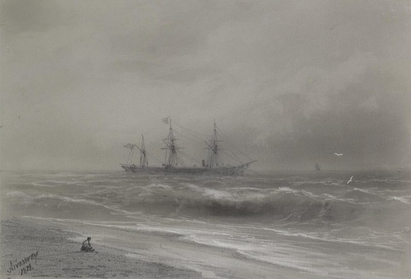 """Художники, картина """"Плавание у берега"""", 29x20 см, на бумаге от Artwall"""