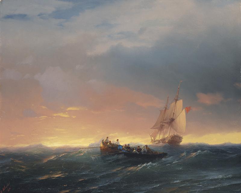 """Художники, картина """"Суда на закате"""", 25x20 см, на бумаге от Artwall"""