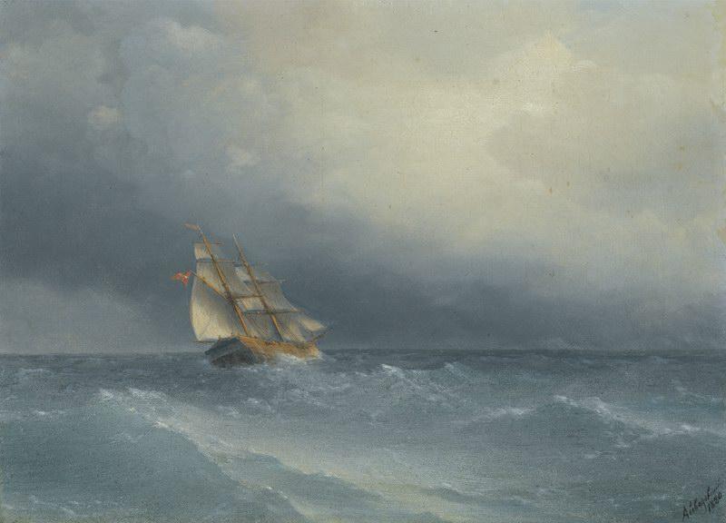 "Художники, картина ""Усиливающийся шторм"", 28x20 см, на бумаге от Artwall"