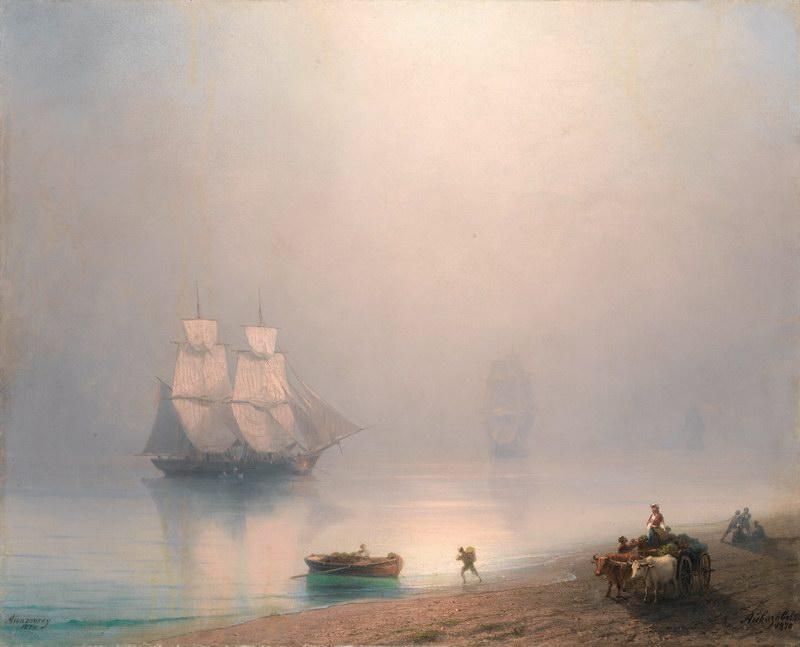 """Художники, картина """"Утро на берегу"""", 25x20 см, на бумаге от Artwall"""