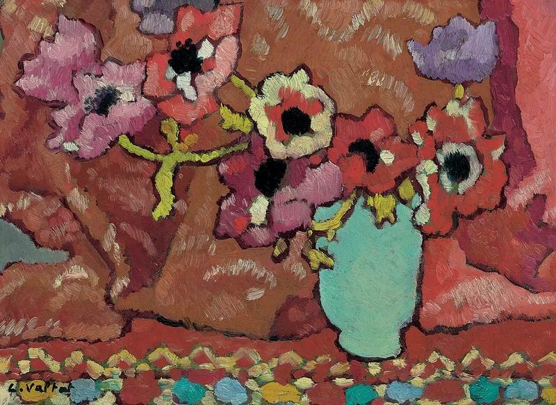 """Художники, картина """"Анемоны в фарфоровой вазе"""", 27x20 см, на бумаге от Artwall"""