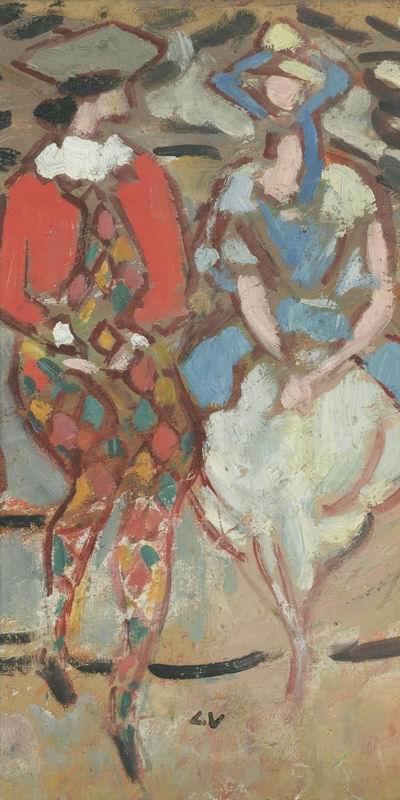 "Художники, картина ""Арлекин и Коломбина"", 20x40 см, на бумаге от Artwall"
