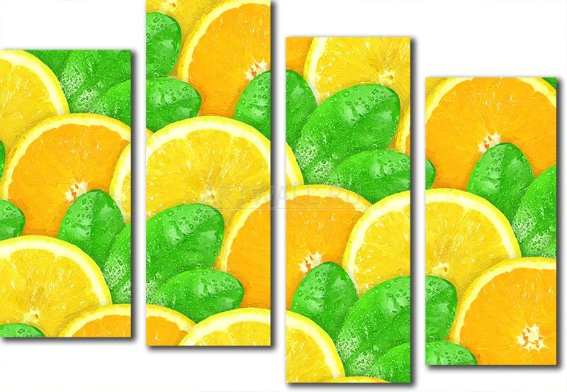 Модульная картина «Два цитрусовых», 72x50 см, модульная картина от Artwall