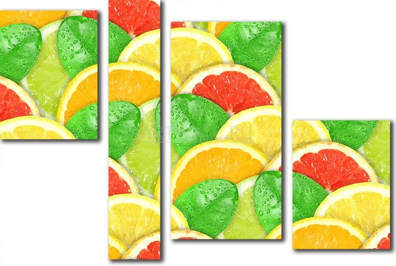 Модульная картина «Четыре цитрусовых», 74x50 см, модульная картина от Artwall