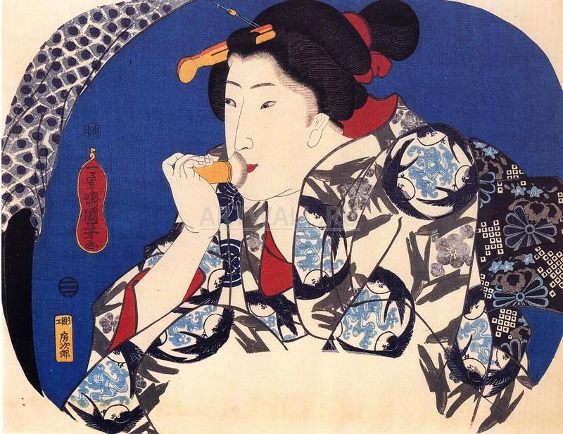 """Японская гравюра Японские гравюры, """"Красота с лицом-кистью"""", 26x20 см, на бумаге от Artwall"""