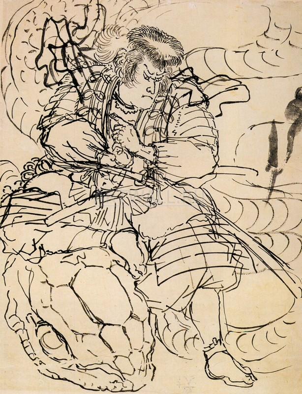 """Японская гравюра Японские гравюры, """"Самурай подавляющий гигантского змея"""", 20x26 см, на бумаге от Artwall"""