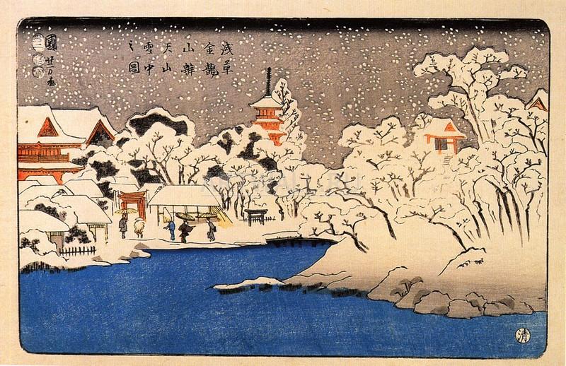 """Японская гравюра Японские гравюры, """"Метель в храме Кинрюзан"""", 31x20 см, на бумаге от Artwall"""