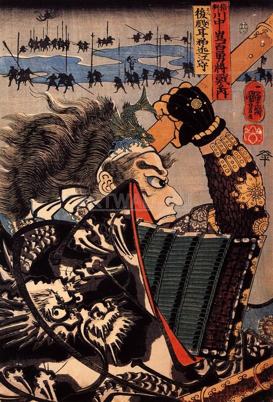"""Японская гравюра Японские гравюры, """"Амакасу Оми-но-ками"""", 20x29 см, на бумаге от Artwall"""