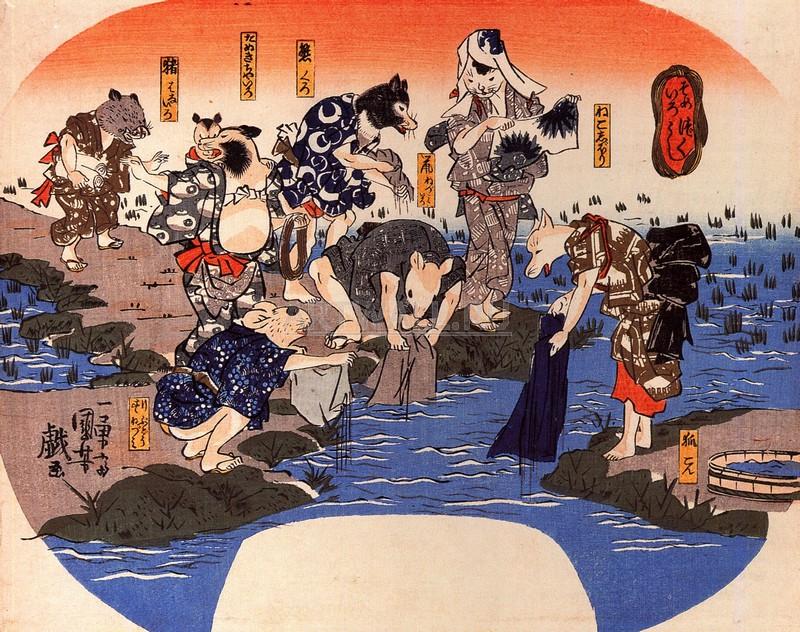"""Японская гравюра Японские гравюры, """"Окраска тканей животных"""", 25x20 см, на бумаге от Artwall"""