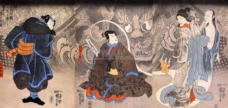 """Японская гравюра Японские гравюры, """"Появление чудовищной кошки"""", 42x20 см, на бумаге от Artwall"""