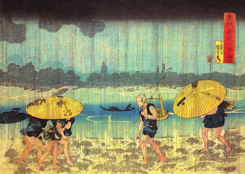 """Японская гравюра Японские гравюры, """"На берегу реки Сумида"""", 28x20 см, на бумаге от Artwall"""