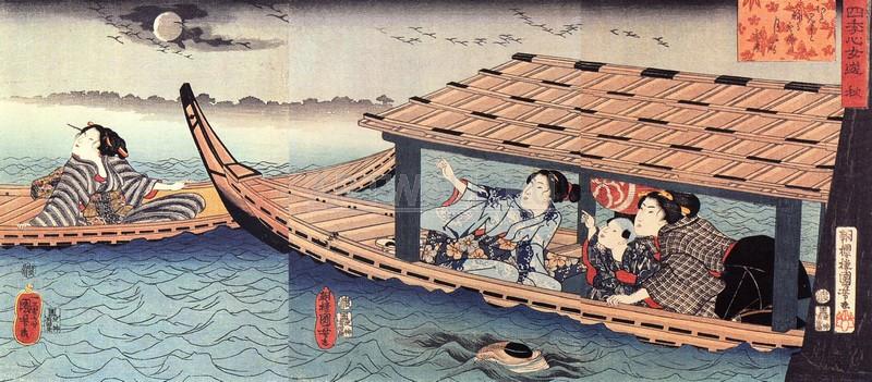 """Японская гравюра Японские гравюры, """"Осень"""", 46x20 см, на бумаге от Artwall"""
