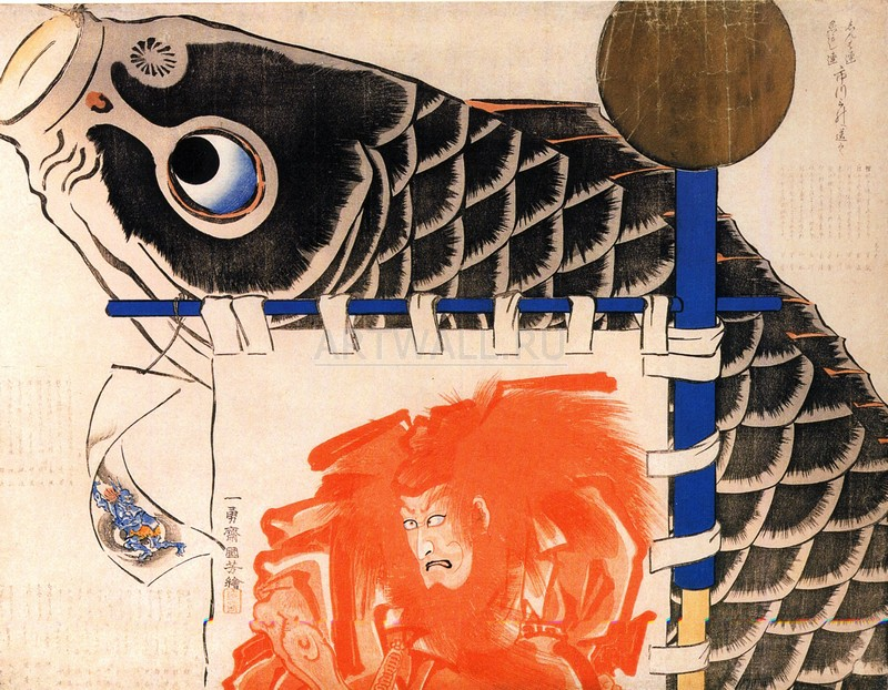 """Японская гравюра Японские гравюры, """"Плакаты для фестиваля мальчиков"""", 26x20 см, на бумаге от Artwall"""