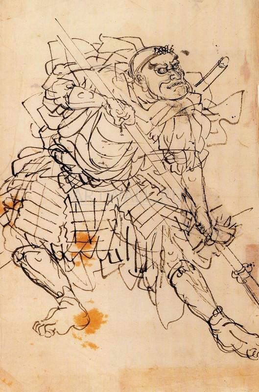 """Японская гравюра Японские гравюры, """"Benkei Holdin с алебардой"""", 20x30 см, на бумаге от Artwall"""