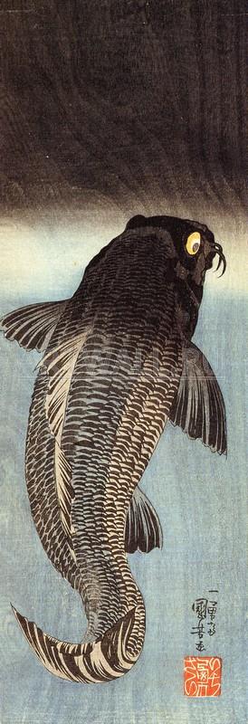 """Японская гравюра Японские гравюры, """"Черный амур"""", 20x58 см, на бумаге от Artwall"""