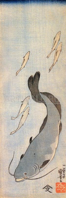 """Японская гравюра Японские гравюры, """"Сом"""", 20x59 см, на бумаге от Artwall"""