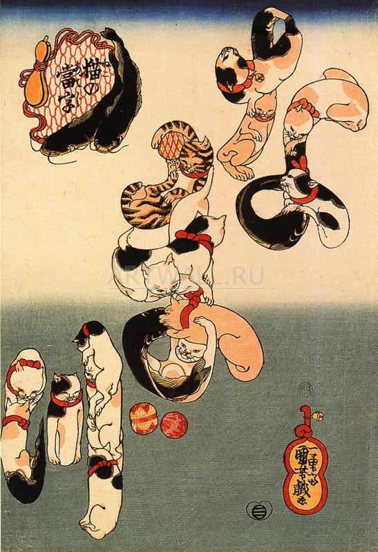 """Японская гравюра Японские гравюры, """"Гравюра 28182"""", 20x29 см, на бумаге от Artwall"""