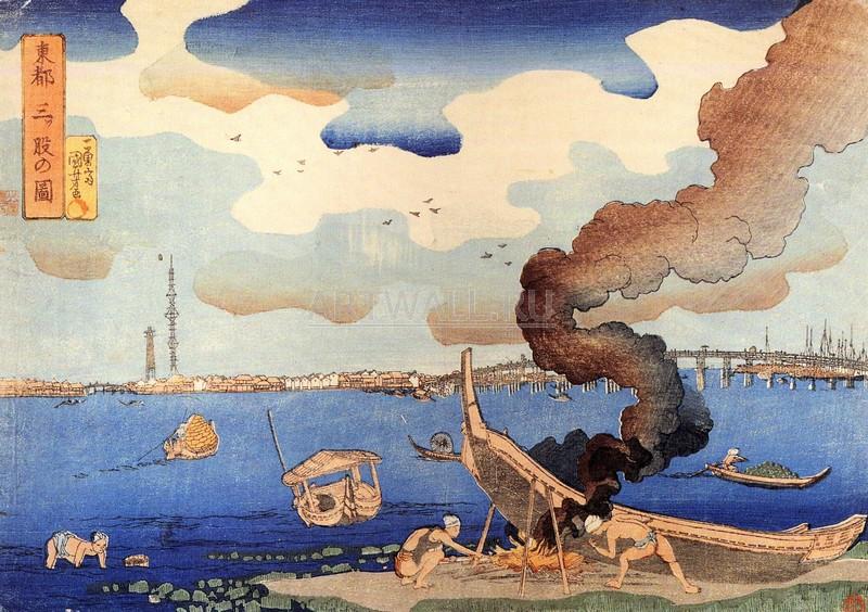 """Японская гравюра Японские гравюры, """"Чеканка лодки"""", 28x20 см, на бумаге от Artwall"""